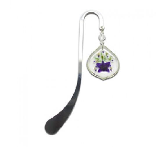 Orchid Bookmark Rhodium - Tear Drop