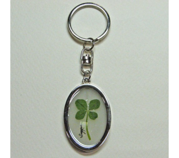 Four Leave Keychain Metal Oval