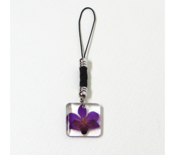 Pressed Orchid Mobile Strap - Square