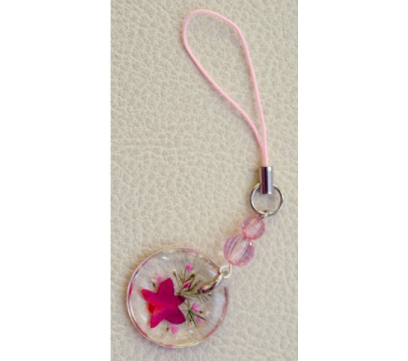 Pressed Orchid Mobile Strap - Round