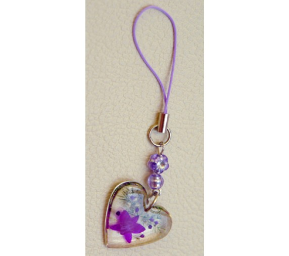 Pressed Orchid Mobile Strap - Heart