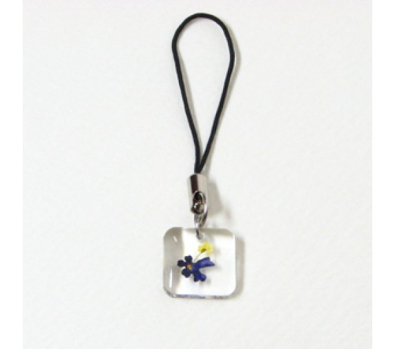 Pressed Orchid Mobile Strap - Square