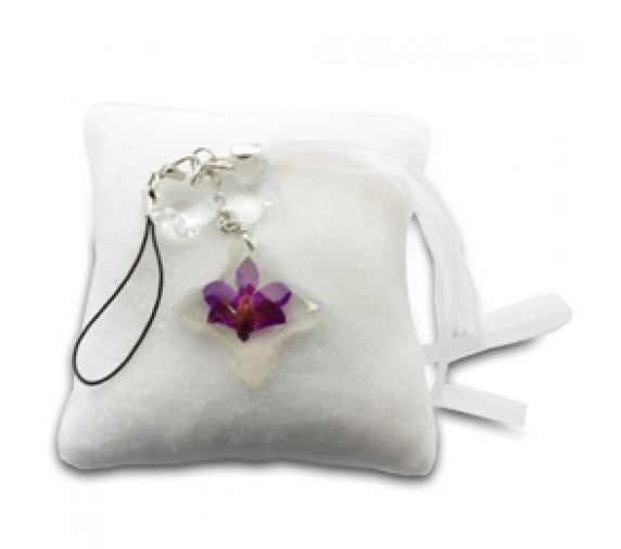 Pressed Orchid Mobile Strap - Cross
