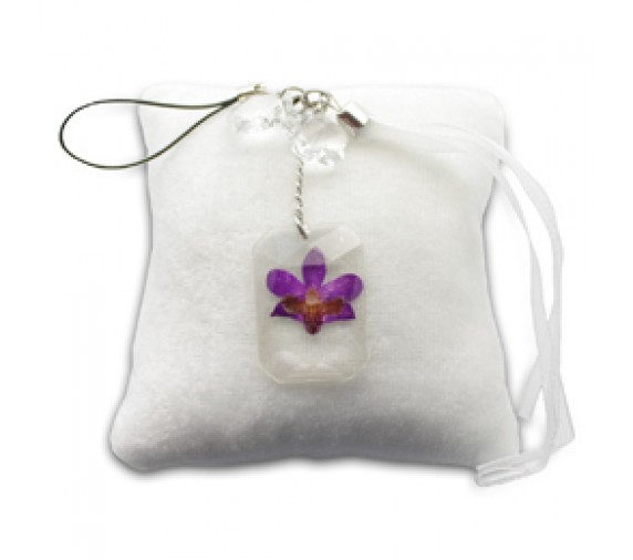 Pressed Orchid Mobile Strap - Rectangle