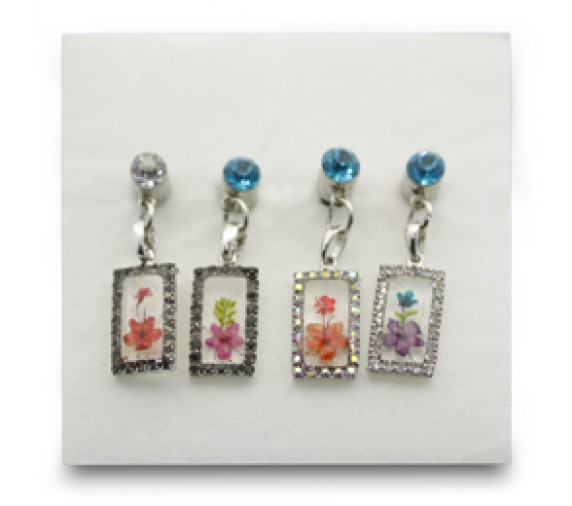 Pressed Orchid Mobile Charm - Rectangle