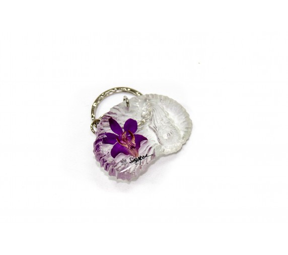 Keychain Orchid - Shell W Merlion