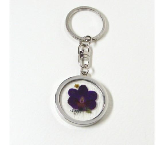 Pressed Orchid Keychain Metal - Round