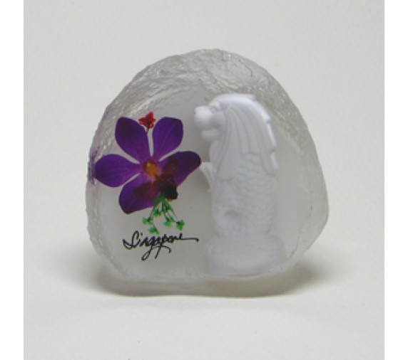 Pressed Orchid Magnet Acrylic - Merlion