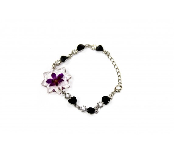 Pressed Orchid Bracelet - Cross