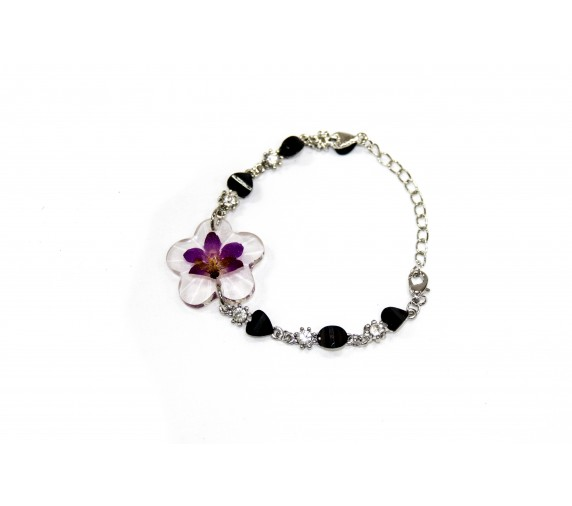 Pressed Orchid Bracelet - Heart