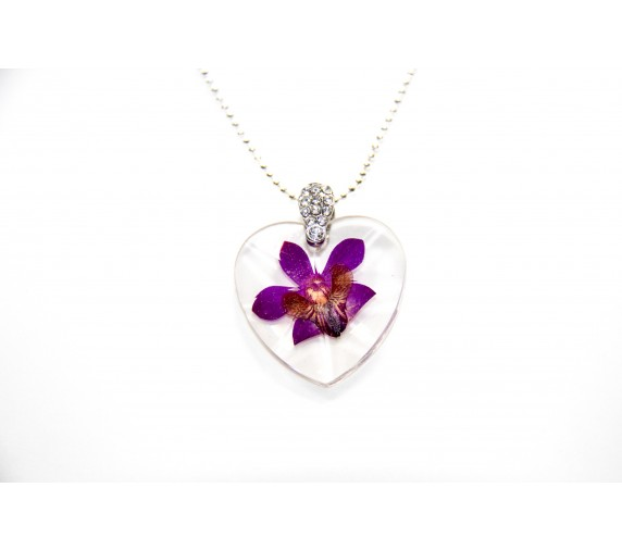 Pressed Orchid Pendant - Heart