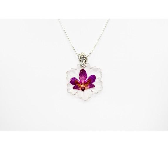 Pressed Orchid Pendant - Leaf