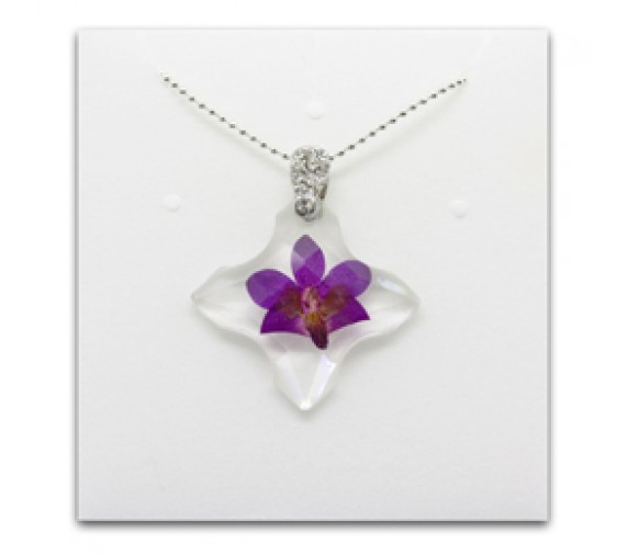 Pressed Orchid Pendant - Cross