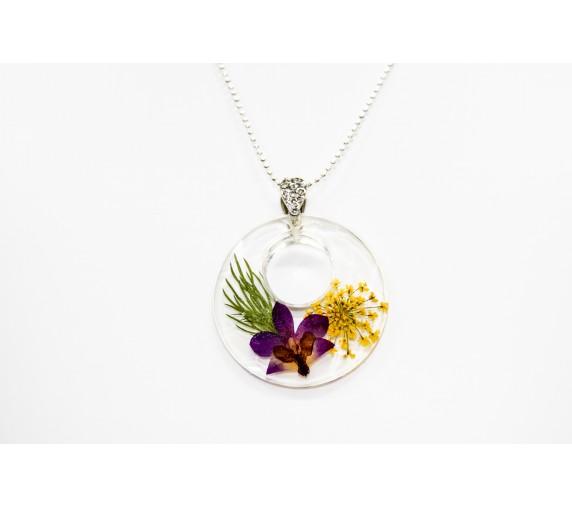 Pressed Orchid Pendant - Cirle in Round