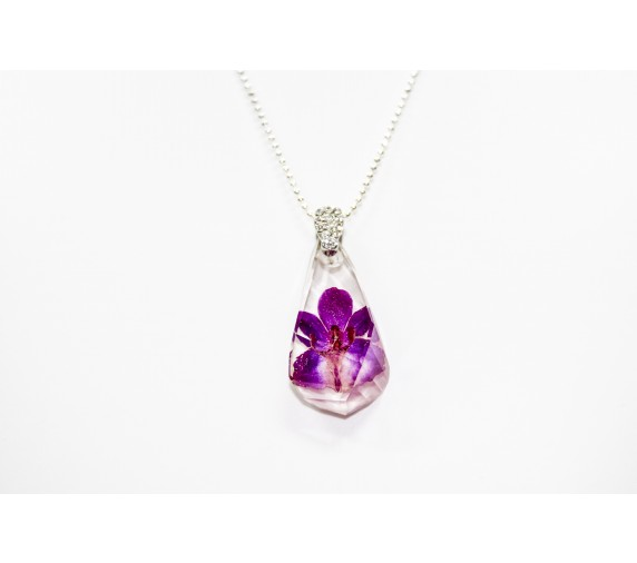 Pressed Orchid Pendant - Thick Tear