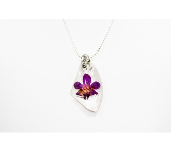 Pressed Orchid Pendant - Ice