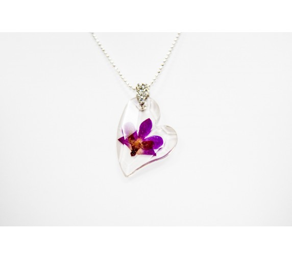 Pressed Orchid Pendant - Love