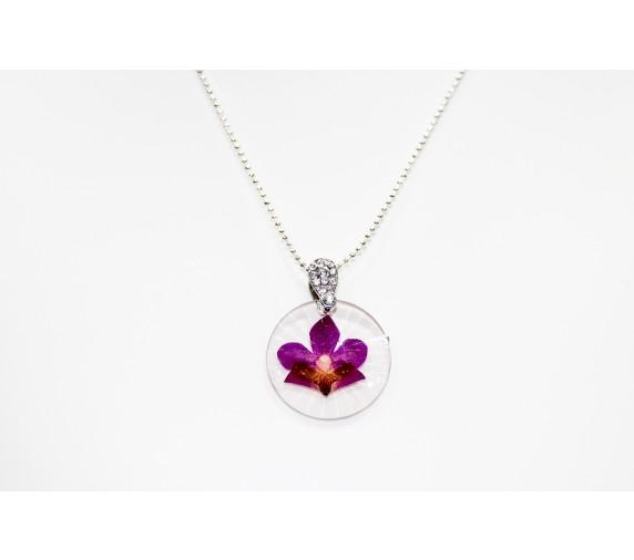 Pressed Orchid Pendant - Round