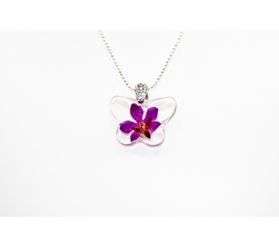 Pressed Orchid Pendant - Butterfly