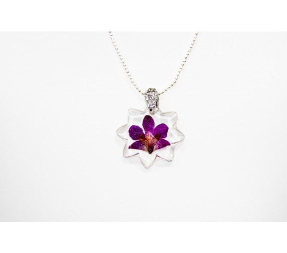 Pressed Orchid Pendant - Star