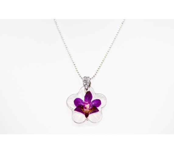 Pressed Orchid Pendant - Flower