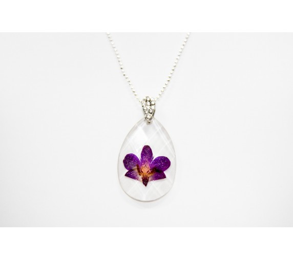 Pressed Orchid Pendant - Tear Drop