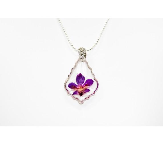 Pressed Orchid Pendant - Crest