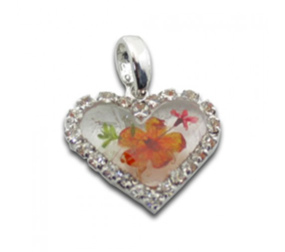 Pressed Orchid Pendant W Crystal - Heart