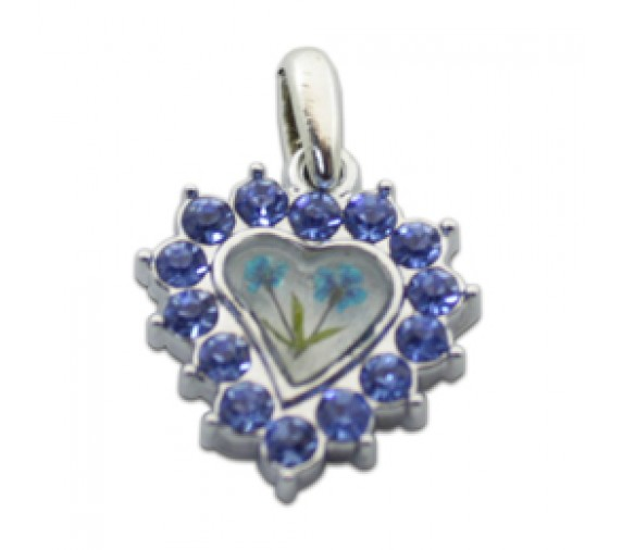 Pressed Orchid Pendant W Crystal - Love