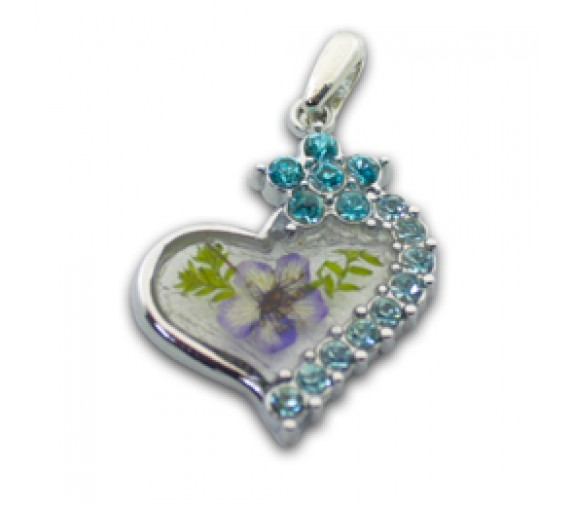 Pressed Orchid Pendant W Crystal - Romance