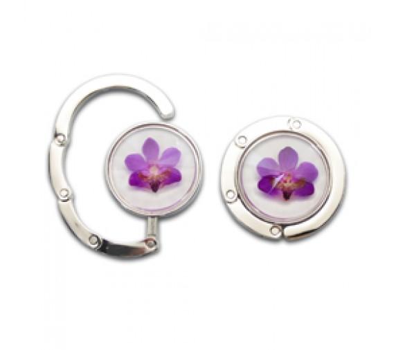 Pressed Orchid Bag Hook - Crystal Cut