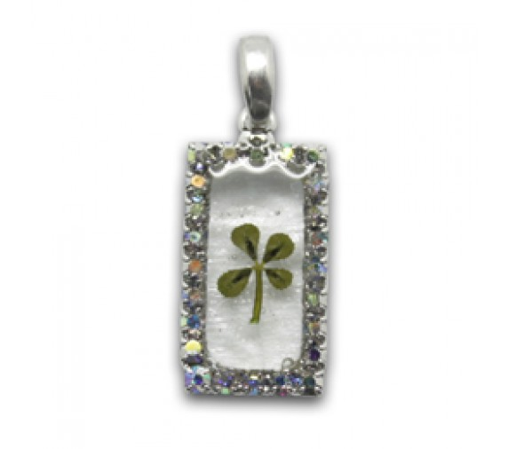 Four Leave Pendant W Crystal Rectangle