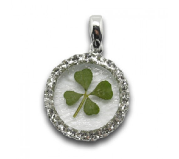 Four Leave Pendant W Crystal Round