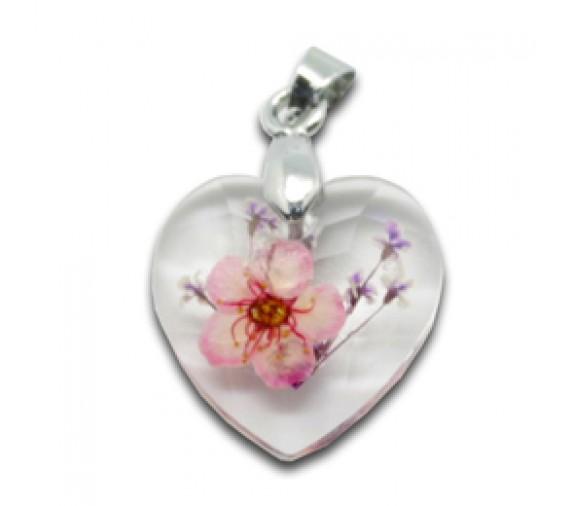 Flora Pendant W Crystal - Heart