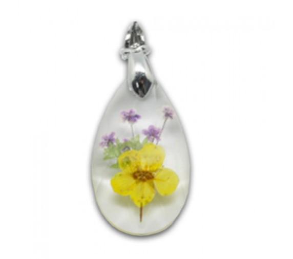 Flora Pendant W Crystal - Tear Drop