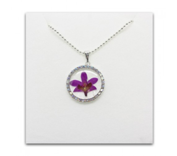 Pressed Orchid Pendant W Crystal - Round