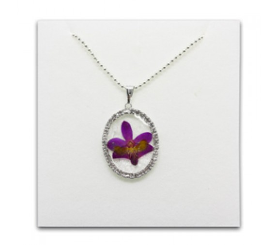 Pressed Orchid Pendant W Crystal - Oval