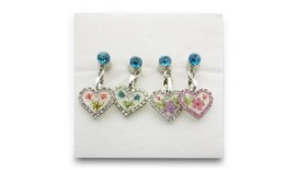 Pressed Orchid Mobile Charm - Heart