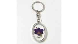 Pressed Orchid Keychain Metal - Oval