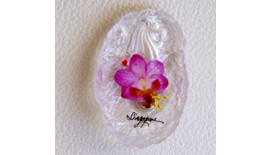 Pressed Orchid Magnet Acrylic - Oval