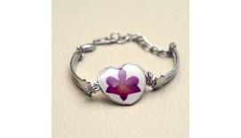 Pressed Orchid Bracelet Heart